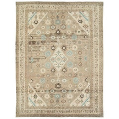 Mid-20th Century Handmade Persian Room Size Rug in Light Brown