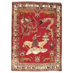 Mid-20th Century Handmade Persian Shiraz Pictorial Accent Rug