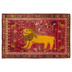 Mid-20th Century Handmade Persian Shiraz Pictorial Lion Accent Rug