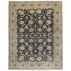 Mid-20th Century Handmade Persian Sickle Leaf Tabriz Room Size Carpet