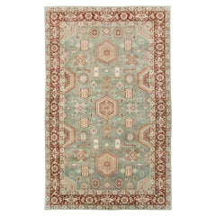 Mid-20th Century Handmade Persian Tabriz Accent Rug in Green and Rust Red