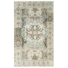 Mid-20th Century Handmade Persian Tabriz Accent Rug in Grey and Cream