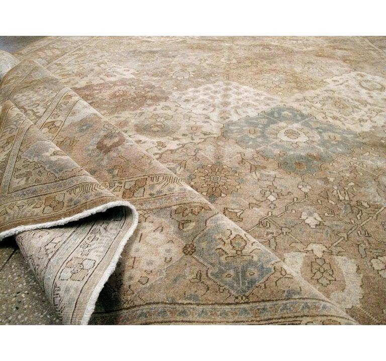 Mid-20th Century Handmade Persian Tabriz Garden Design Room Size Carpet in Cream For Sale 4