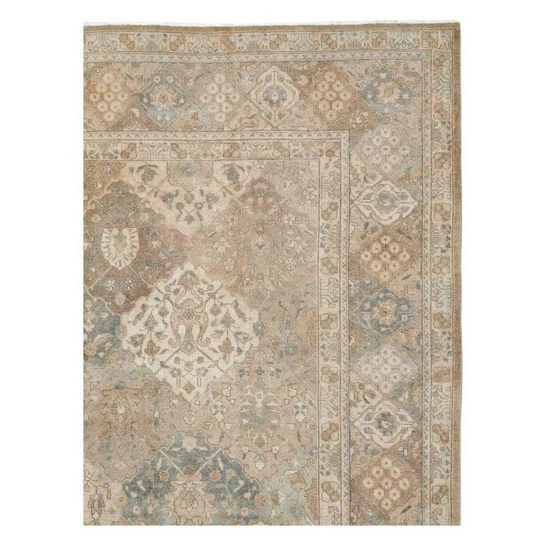 Rustic Mid-20th Century Handmade Persian Tabriz Garden Design Room Size Carpet in Cream For Sale