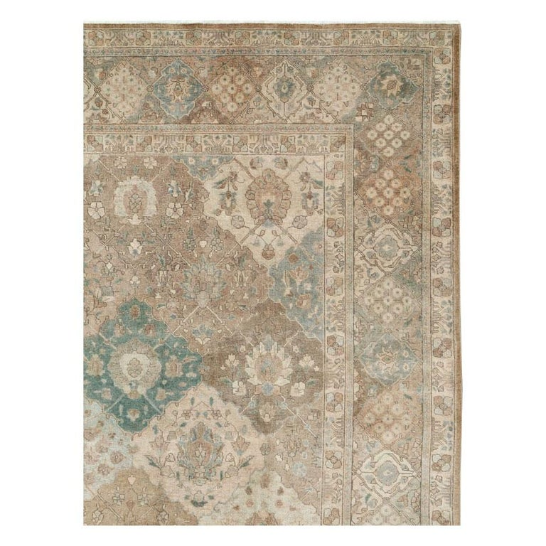 Hand-Knotted Mid-20th Century Handmade Persian Tabriz Garden Design Room Size Carpet in Cream For Sale