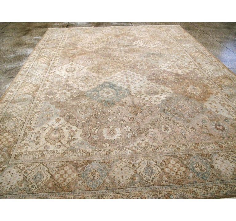 Mid-20th Century Handmade Persian Tabriz Garden Design Room Size Carpet in Cream In Good Condition For Sale In New York, NY