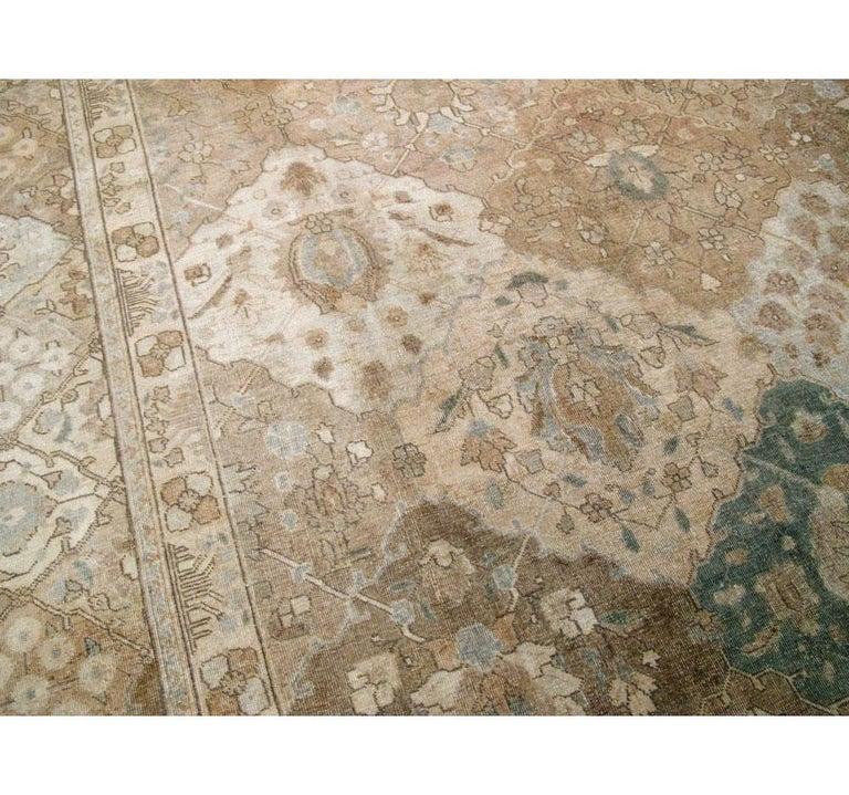 Wool Mid-20th Century Handmade Persian Tabriz Garden Design Room Size Carpet in Cream For Sale