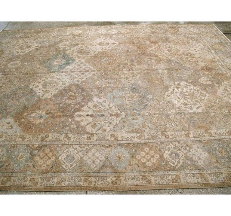 Mid-20th Century Handmade Persian Tabriz Garden Design Room Size Carpet in Cream For Sale 1