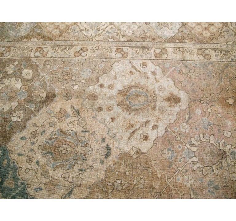 Mid-20th Century Handmade Persian Tabriz Garden Design Room Size Carpet in Cream For Sale 2