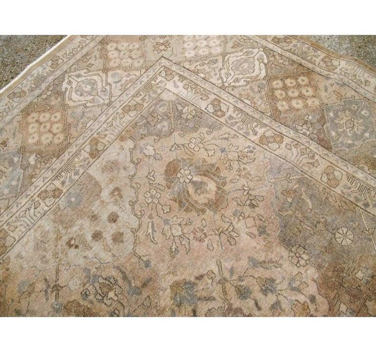 Mid-20th Century Handmade Persian Tabriz Garden Design Room Size Carpet in Cream For Sale 3