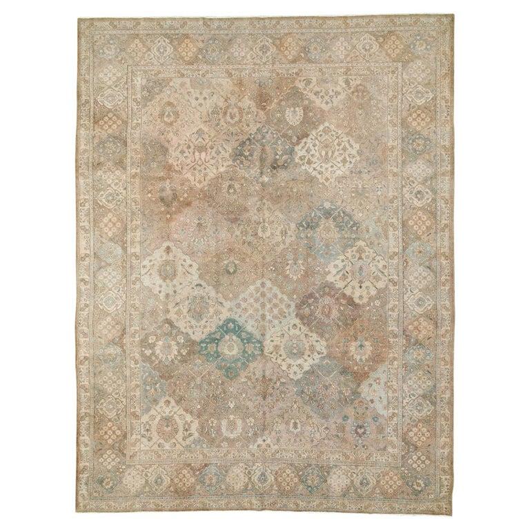 Mid-20th Century Handmade Persian Tabriz Garden Design Room Size Carpet in Cream For Sale