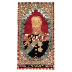 Mid-20th Century Handmade Persian Tabriz King George V Pictorial Small Throw Rug