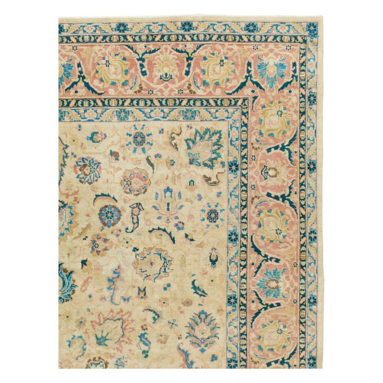 Victorian Mid-20th Century Handmade Persian Tabriz Room Size Carpet