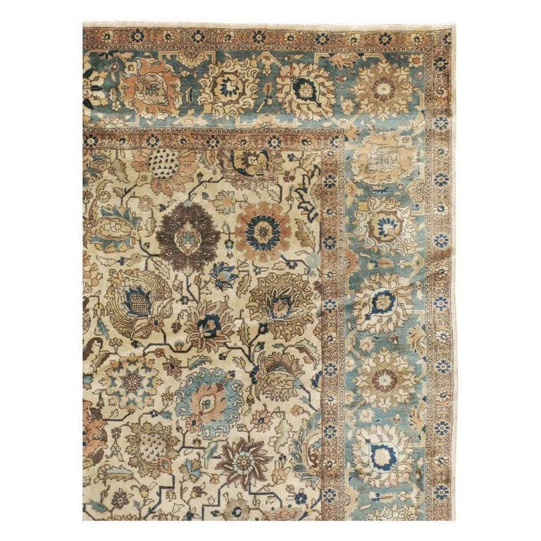 Georgian Mid-20th Century Handmade Persian Tabriz Room Size Carpet For Sale