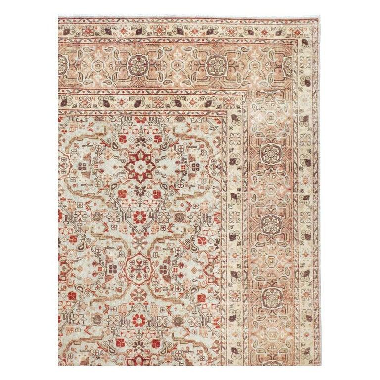 Victorian Mid-20th Century Handmade Persian Tabriz Room Size Carpet For Sale