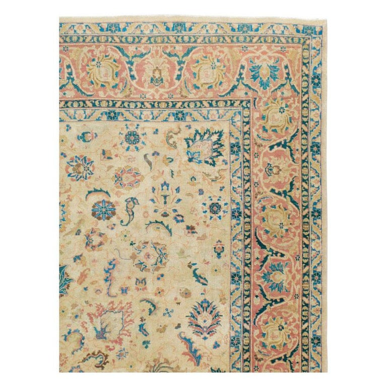 Hand-Knotted Mid-20th Century Handmade Persian Tabriz Room Size Carpet