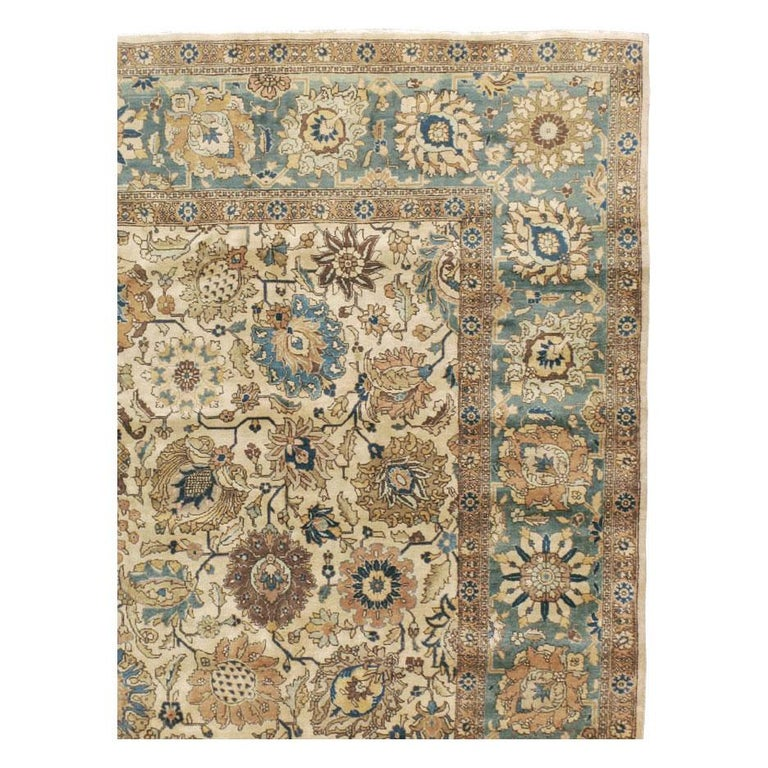 Hand-Knotted Mid-20th Century Handmade Persian Tabriz Room Size Carpet For Sale