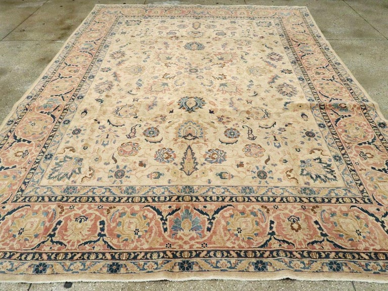 Mid-20th Century Handmade Persian Tabriz Room Size Carpet In Good Condition In New York, NY
