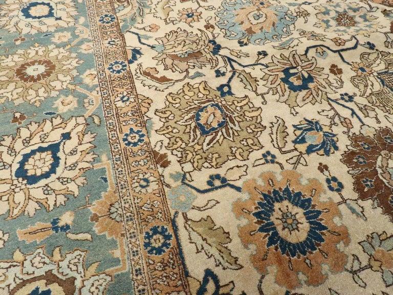 Wool Mid-20th Century Handmade Persian Tabriz Room Size Carpet For Sale