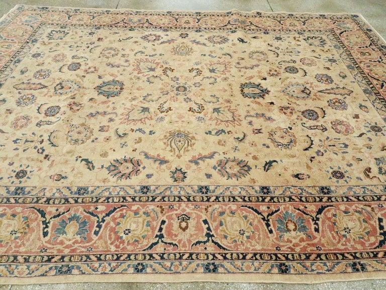 Mid-20th Century Handmade Persian Tabriz Room Size Carpet 1