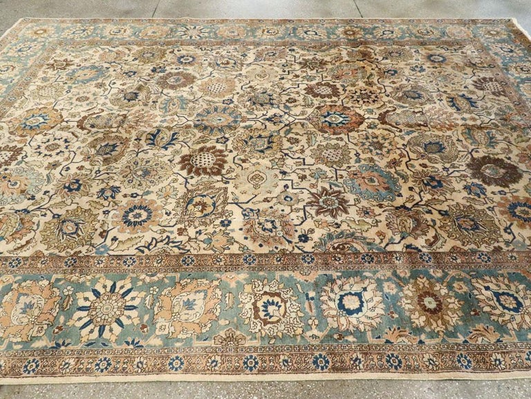 Mid-20th Century Handmade Persian Tabriz Room Size Carpet For Sale 1