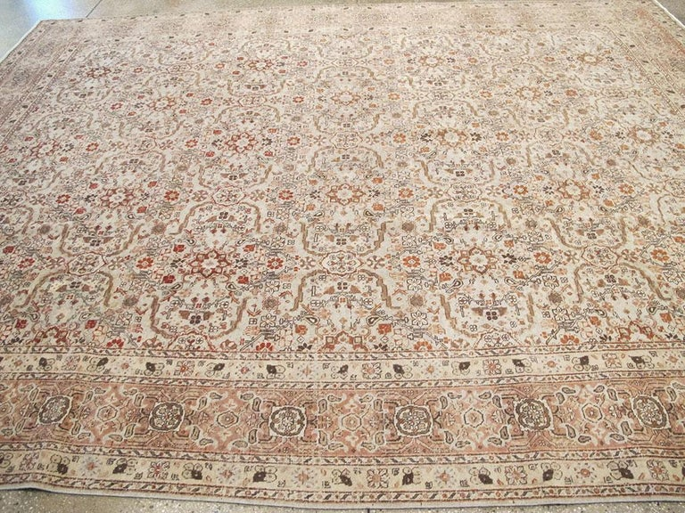 Mid-20th Century Handmade Persian Tabriz Room Size Carpet For Sale 2