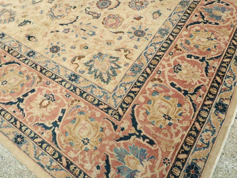 Mid-20th Century Handmade Persian Tabriz Room Size Carpet 3