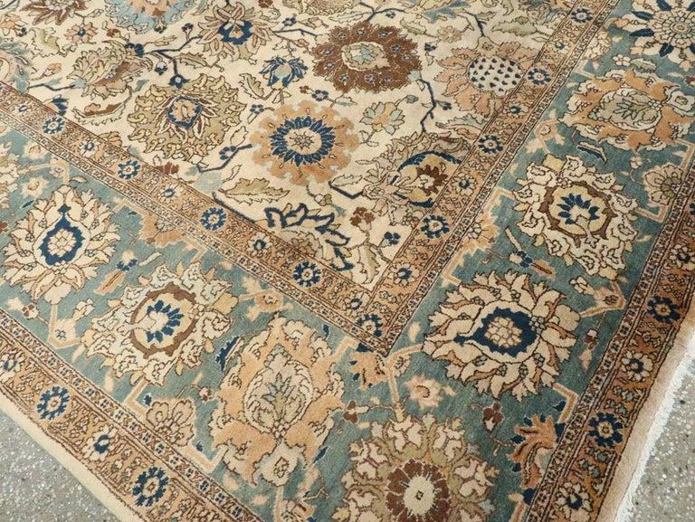 Mid-20th Century Handmade Persian Tabriz Room Size Carpet For Sale 3