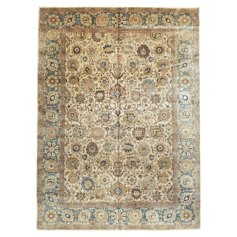Mid-20th Century Handmade Persian Tabriz Room Size Carpet For Sale