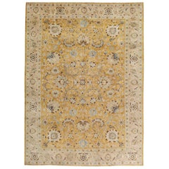 Mid-20th Century Handmade Persian Tabriz Room Size Carpet In Goldenrod and Blush