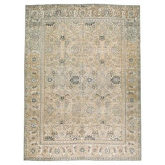 Mid-20th Century Handmade Persian Tabriz Room Size Carpet in Neutral Cream Tones