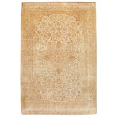 Mid-20th Century Handmade Persian Traditional Tabriz Accent Rug in Blonde