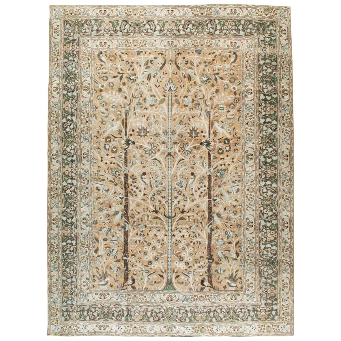 Mid-20th Century Handmade Persian Tree of Life Mashad Large Room Size Carpet