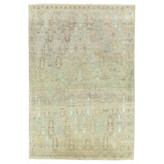 Mid-20th Century Handmade Persian Tribal 6' x 9' Accent Rug in Pale Green