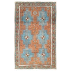Mid-20th Century Handmade Persian Tribal Accent Rug in Orange, Blue, and Green