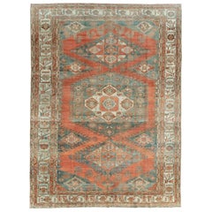 Mid-20th Century Handmade Persian Veece Room Size Carpet in Rust Red and Grey