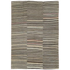 Mid-20th Century Handmade Persian Zebra Striped Flatweave Tribal Accent Rug