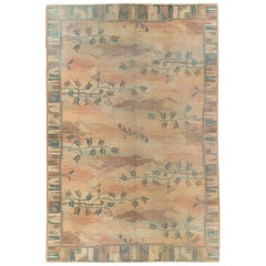 Mid-20th Century Handmade Polish Art Nouveau Accent Rug in Pastel Colors