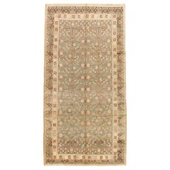Mid-20th Century Handmade Pomegranate Khotan Gallery Rug in Khaki Green and Nude