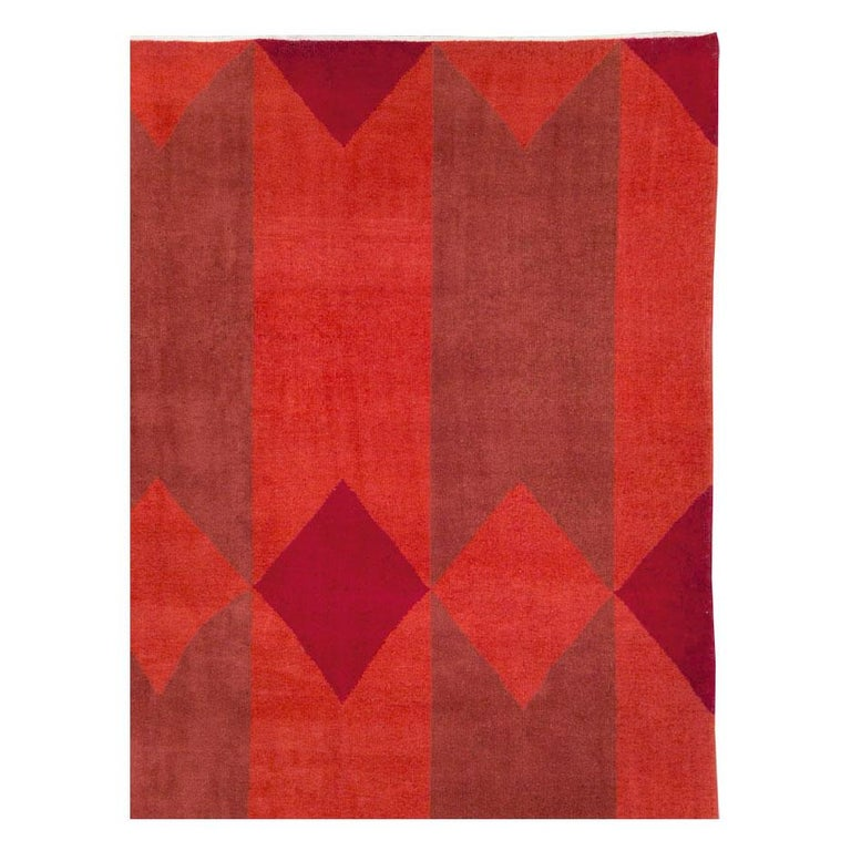 Hand-Knotted Mid-20th Century Handmade Red Turkish Art Deco Large Room Size Carpet For Sale