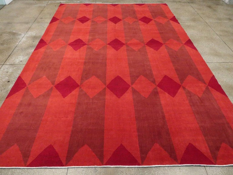 Wool Mid-20th Century Handmade Red Turkish Art Deco Large Room Size Carpet For Sale