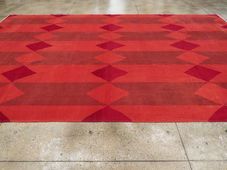 Mid-20th Century Handmade Red Turkish Art Deco Large Room Size Carpet For Sale 1