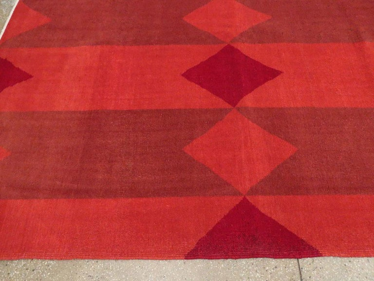 Mid-20th Century Handmade Red Turkish Art Deco Large Room Size Carpet For Sale 2