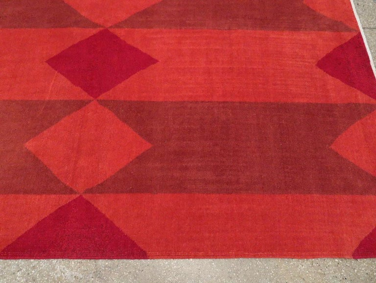 Mid-20th Century Handmade Red Turkish Art Deco Large Room Size Carpet For Sale 3