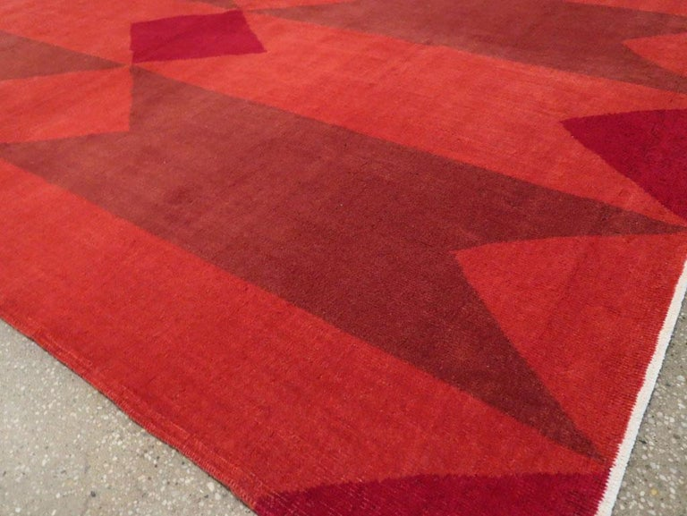 Mid-20th Century Handmade Red Turkish Art Deco Large Room Size Carpet For Sale 4
