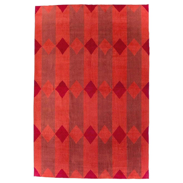 Mid-20th Century Handmade Red Turkish Art Deco Large Room Size Carpet For Sale