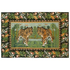 Mid-20th Century Handmade Russian Bessarabian Pictorial Tiger Accent Rug