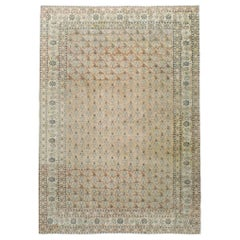 Mid-20th Century Handmade Rustic Accent Rug in Cream and Blonde