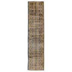 Mid-20th Century Handmade Spanish Savonnerie-Style Runner Rug in Dark Blue