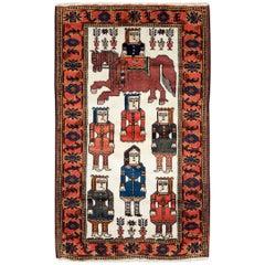 Mid-20th Century Handmade Tribal Folk Persian Pictorial Kurdish Accent Rug